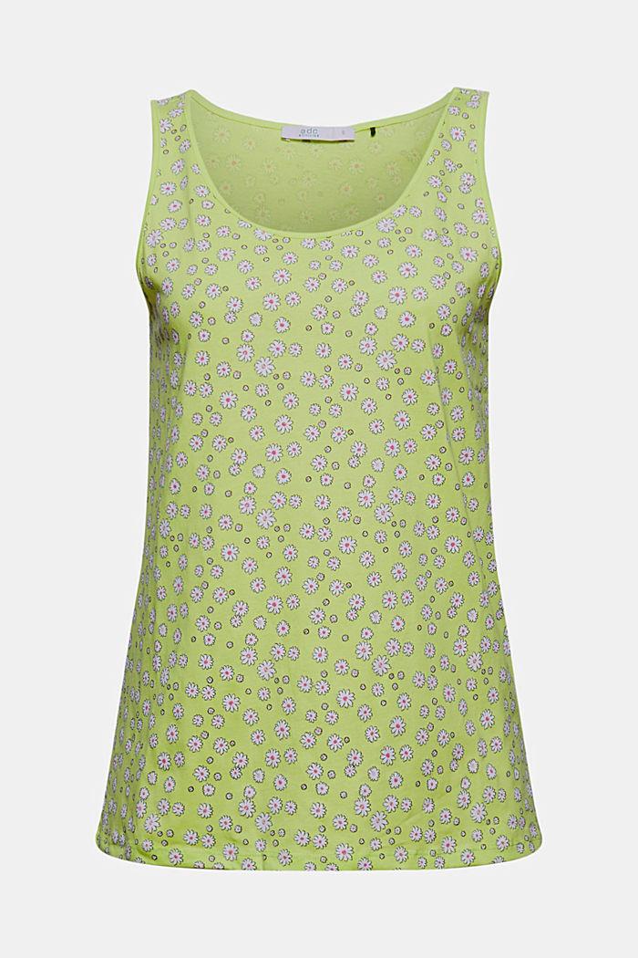 Mille-fleurs vest, 100% organic cotton, LIME YELLOW, detail image number 6