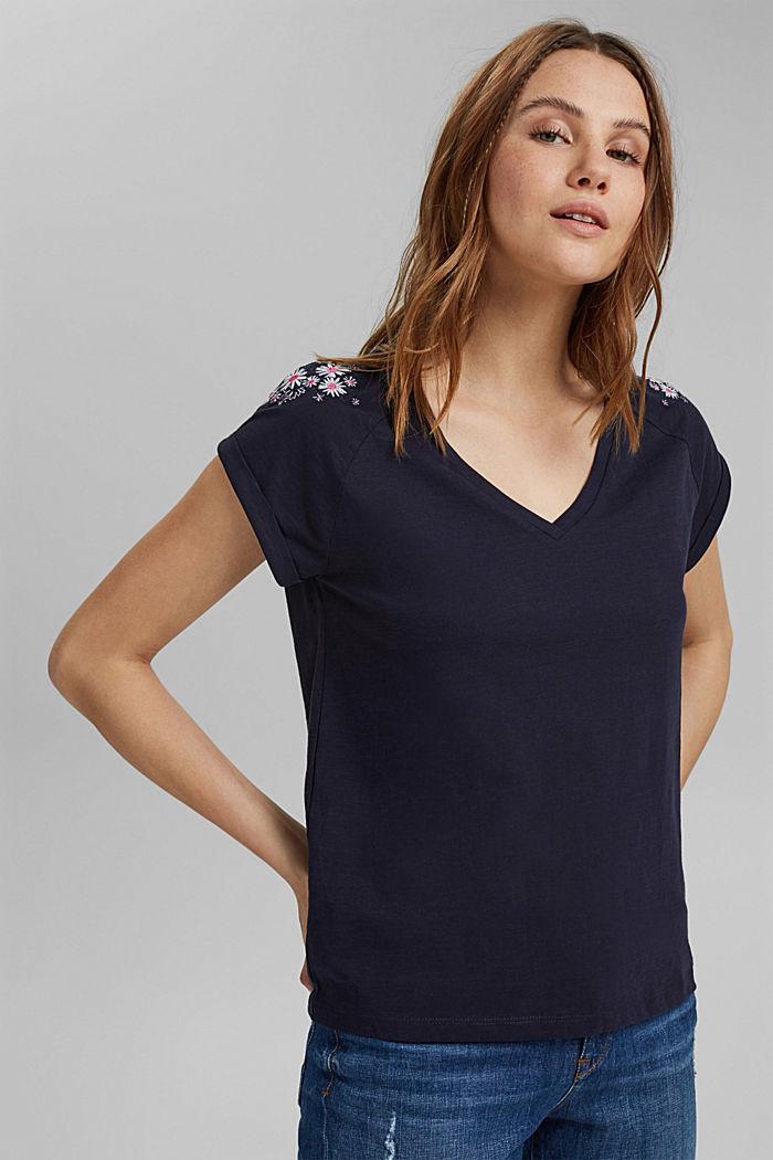 T-Shirt mit Blumen-Stickerei, 100% Bio-Baumwolle, NAVY, detail image number 0