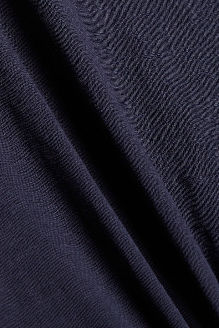 T-Shirt mit Blumen-Stickerei, 100% Bio-Baumwolle, NAVY, detail image number 4