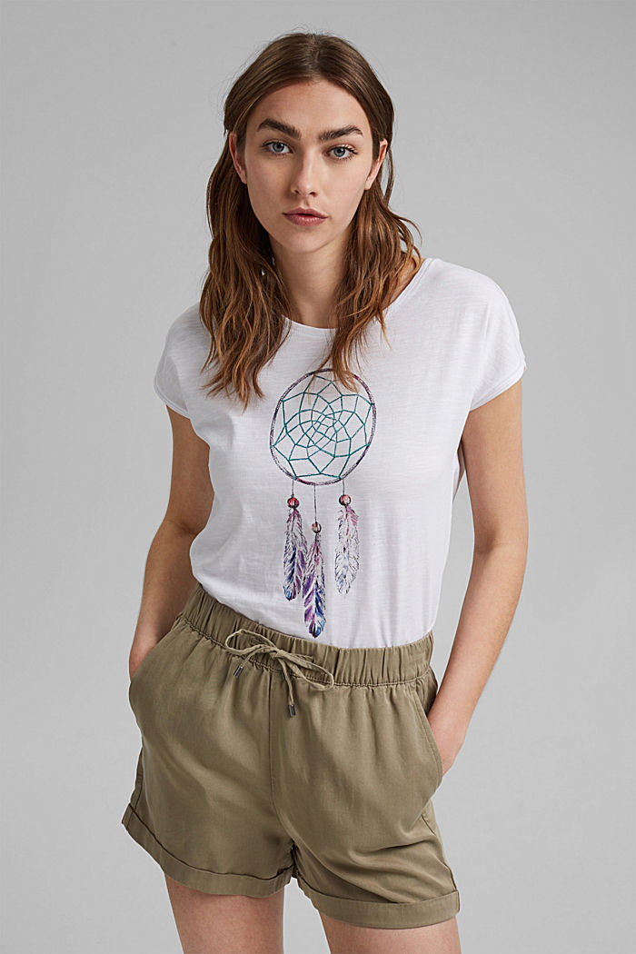 T-shirt with dreamcatcher print, organic cotton, WHITE, detail image number 0