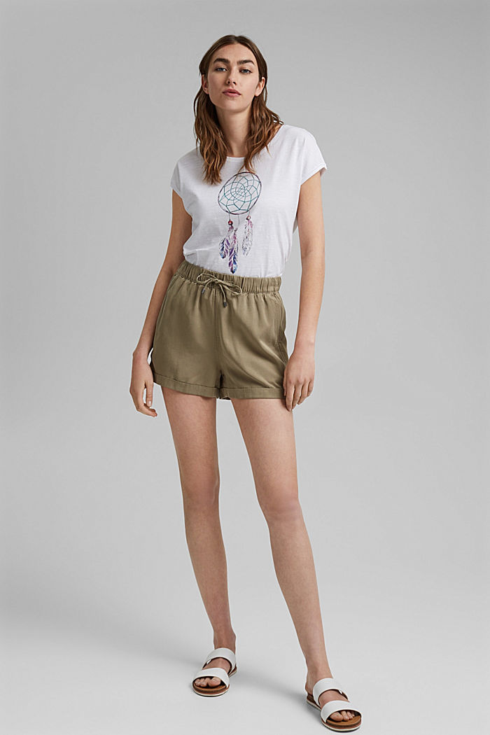 T-shirt with dreamcatcher print, organic cotton, WHITE, detail image number 1