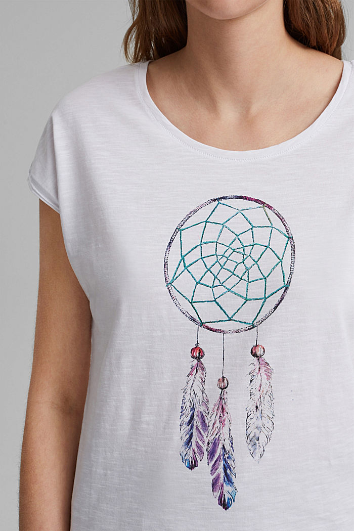 T-shirt with dreamcatcher print, organic cotton, WHITE, detail image number 2