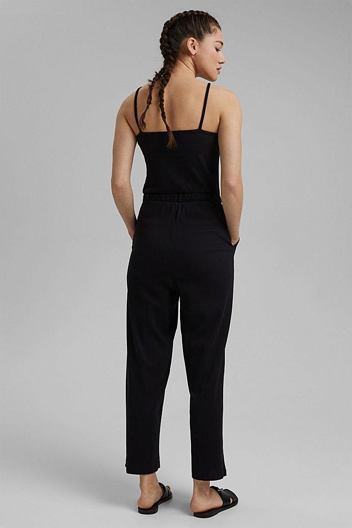 Ribbed jersey jumpsuit, organic cotton, BLACK, detail image number 2