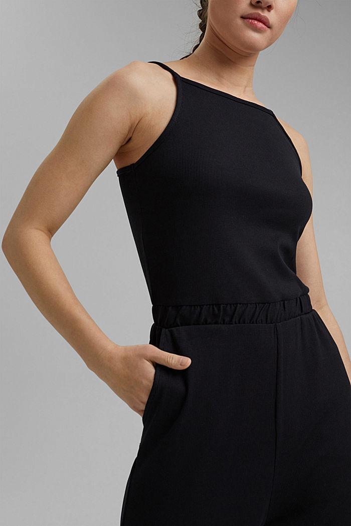 Ribbed jersey jumpsuit, organic cotton, BLACK, detail image number 3
