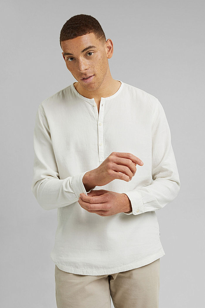 Košile s henley výstřihem, OFF WHITE, detail image number 0