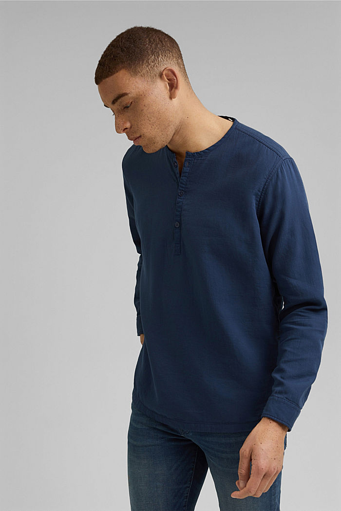 Shirt with Henley neckline, NAVY, detail image number 0