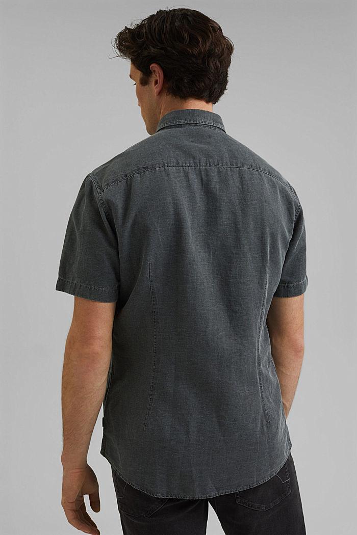 Z lnem: koszula z krótkim rękawem, ANTHRACITE, detail image number 3