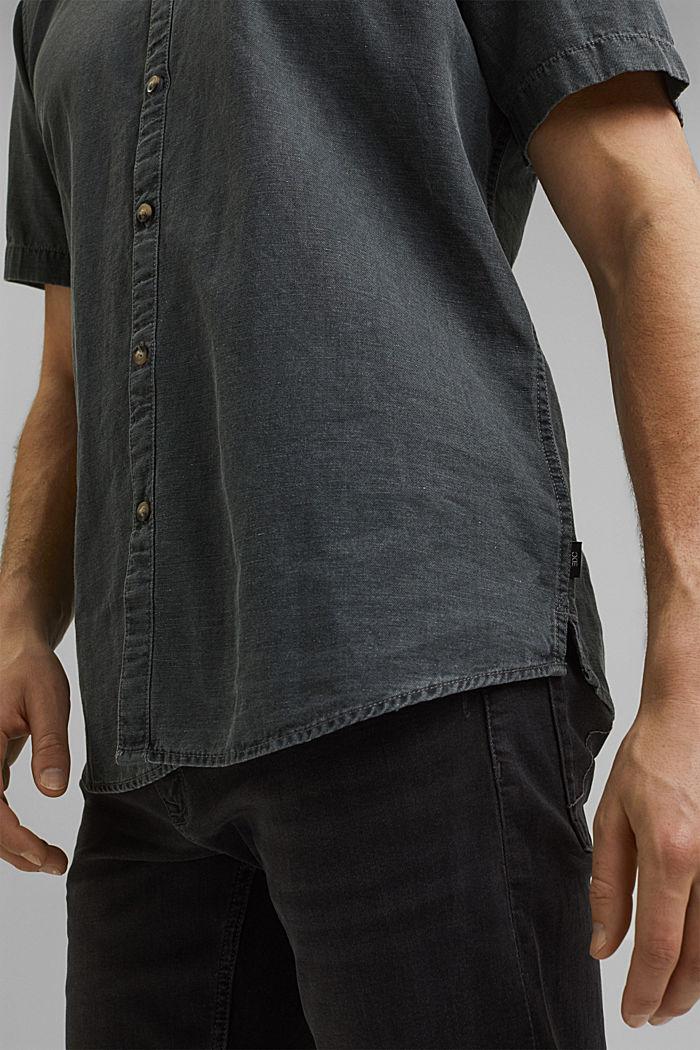 Z lnem: koszula z krótkim rękawem, ANTHRACITE, detail image number 2