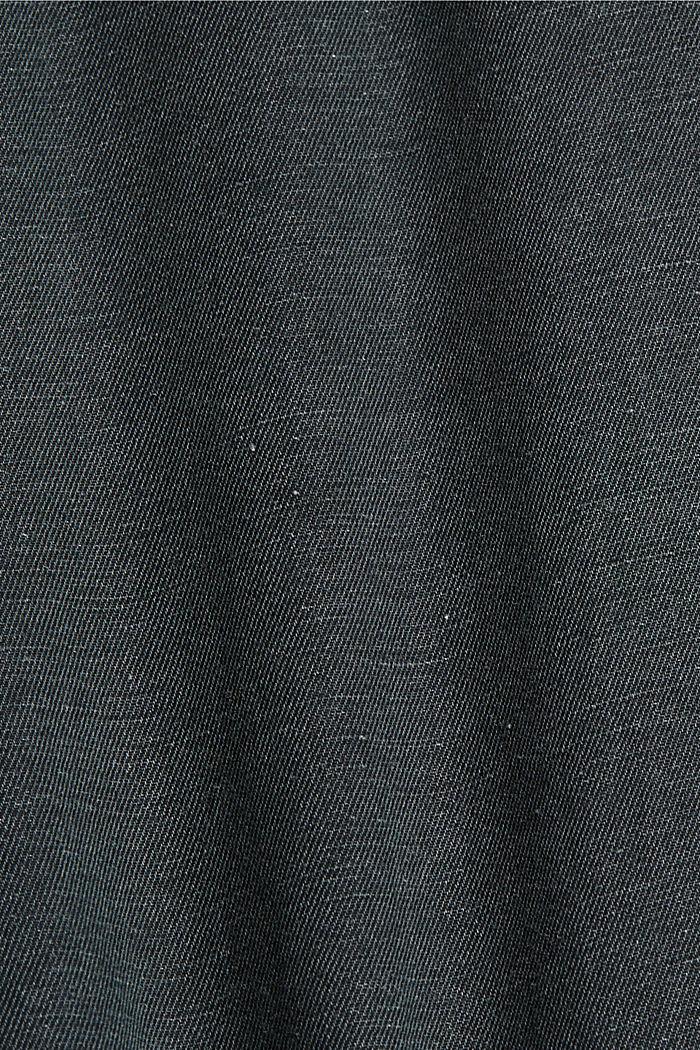 Z lnem: koszula z krótkim rękawem, ANTHRACITE, detail image number 4