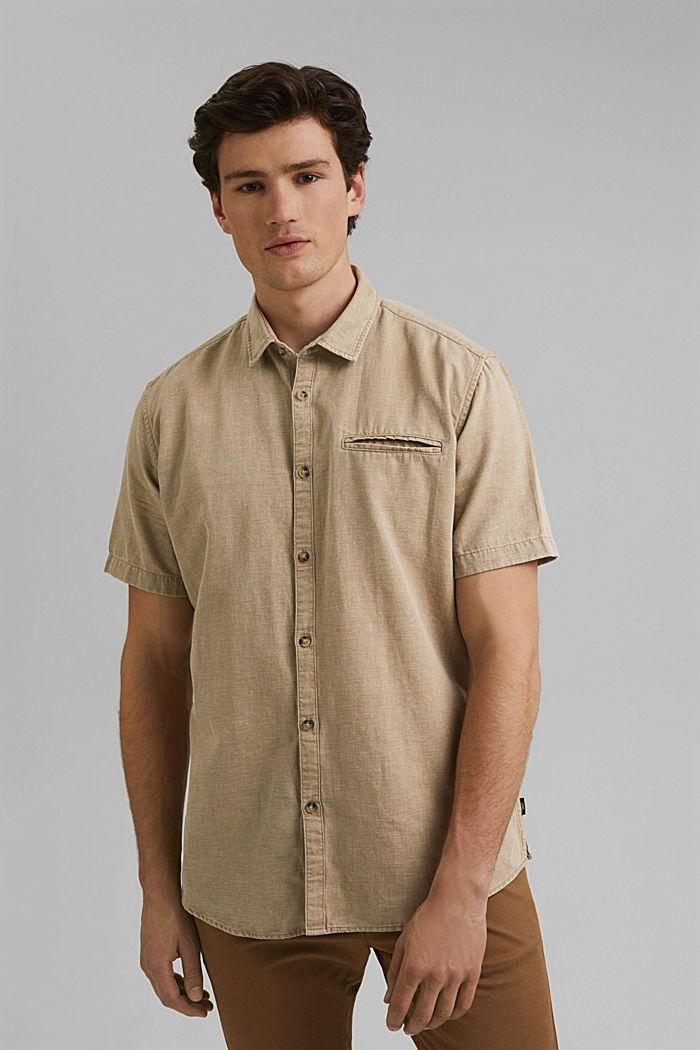 Con lino: camisa de manga corta, BEIGE, detail image number 0
