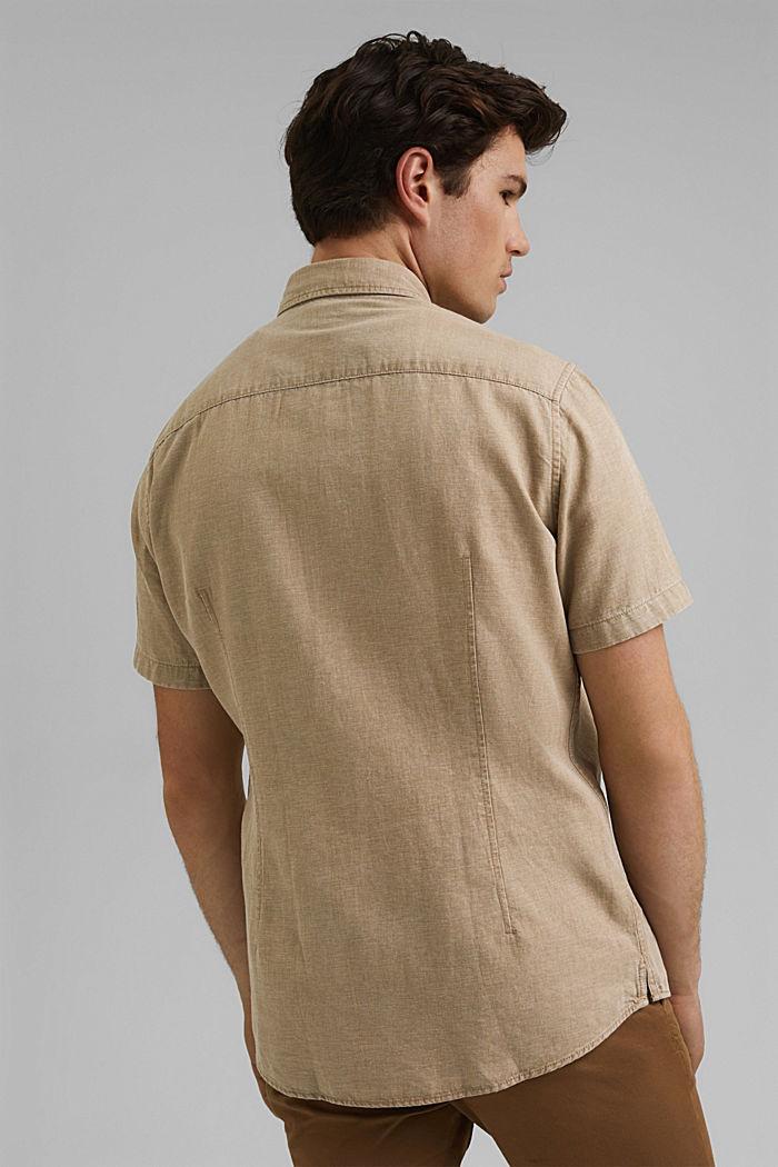 Con lino: camisa de manga corta, BEIGE, detail image number 3