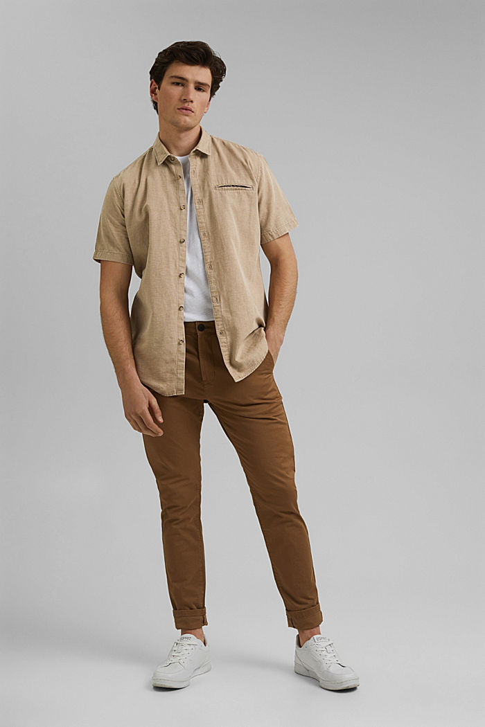 Con lino: camisa de manga corta, BEIGE, detail image number 1