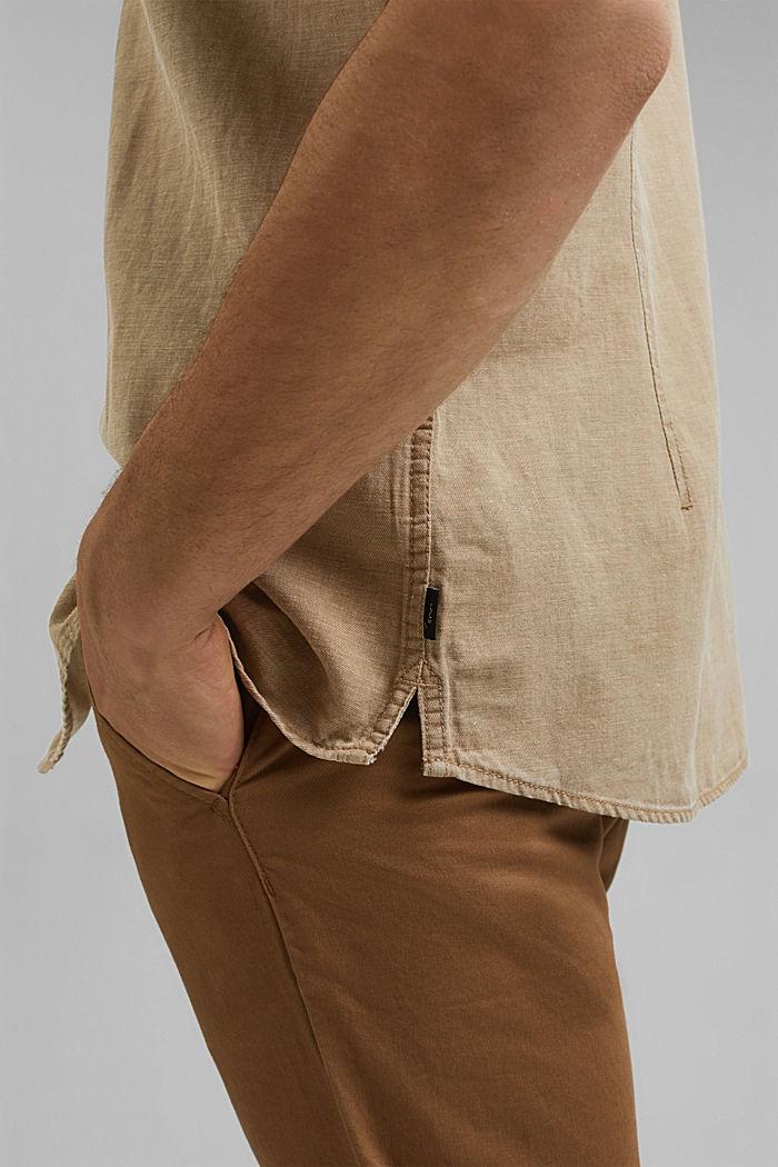Con lino: camisa de manga corta, BEIGE, detail image number 2
