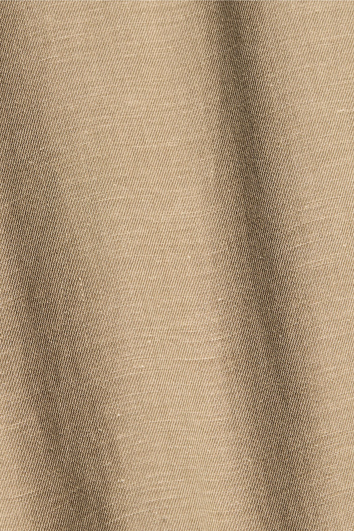 Con lino: camisa de manga corta, BEIGE, detail image number 4