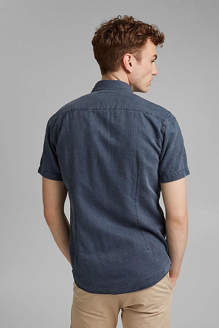 Z lnem: koszula z krótkim rękawem, NAVY, detail image number 3