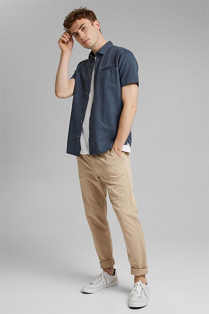Z lnem: koszula z krótkim rękawem, NAVY, detail image number 1