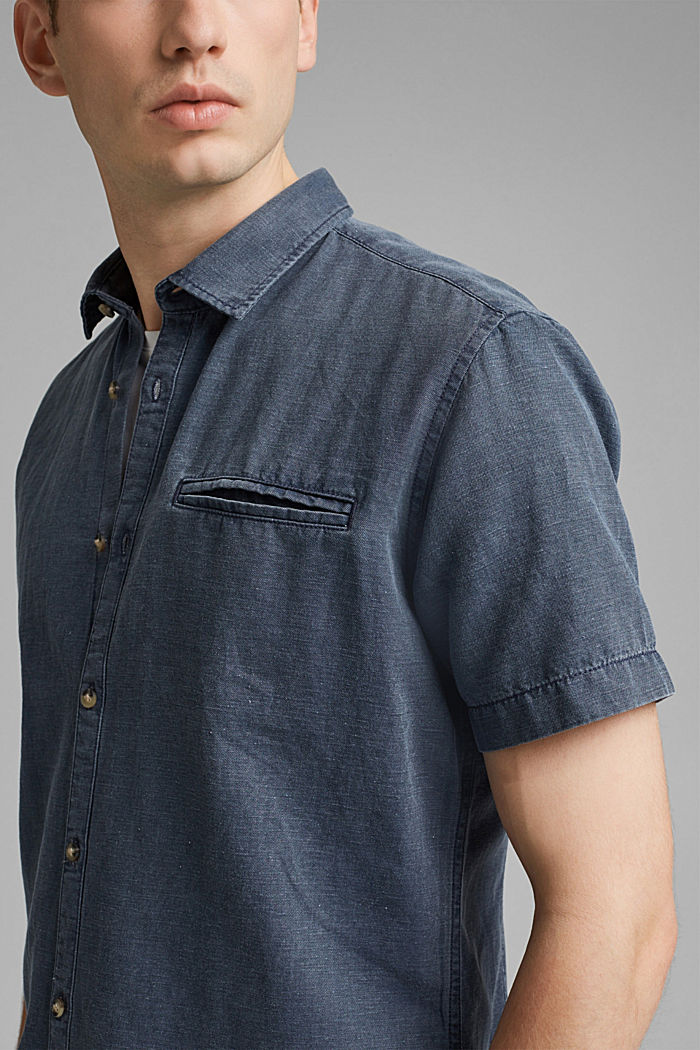 Z lnem: koszula z krótkim rękawem, NAVY, detail image number 2