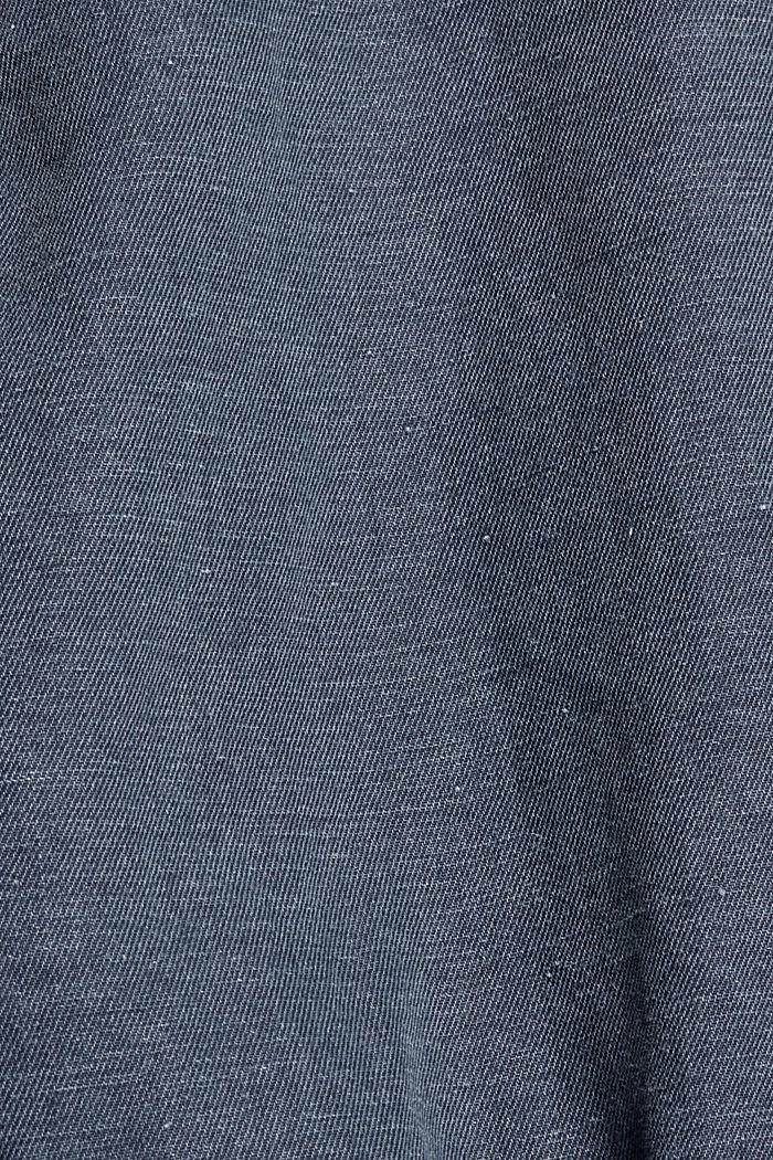 Z lnem: koszula z krótkim rękawem, NAVY, detail image number 4