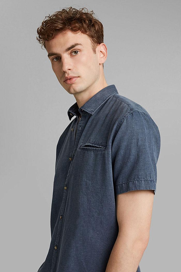 Z lnem: koszula z krótkim rękawem, NAVY, detail image number 5
