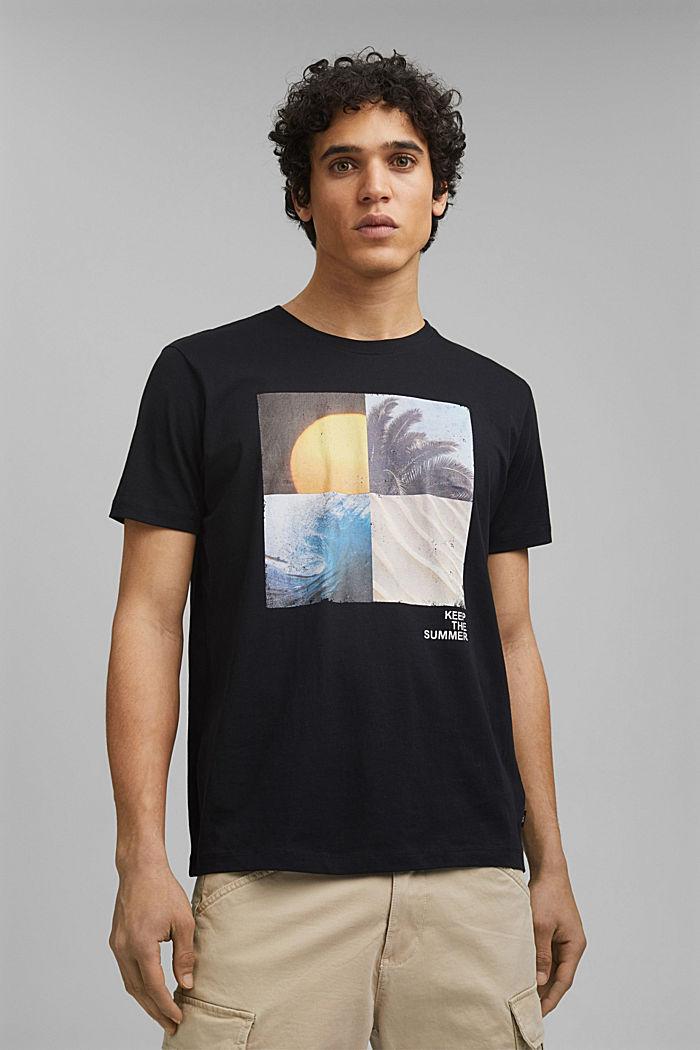 Printed T-shirt in 100% organic cotton, BLACK, detail image number 0