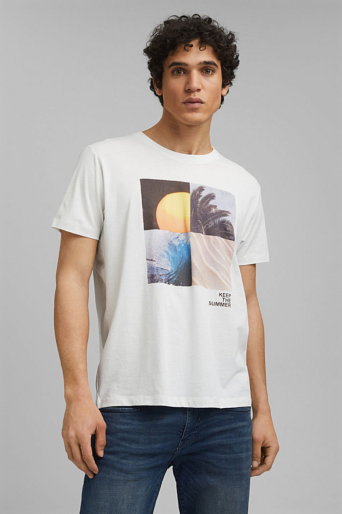 Printed T-shirt in 100% organic cotton, OFF WHITE, detail image number 0
