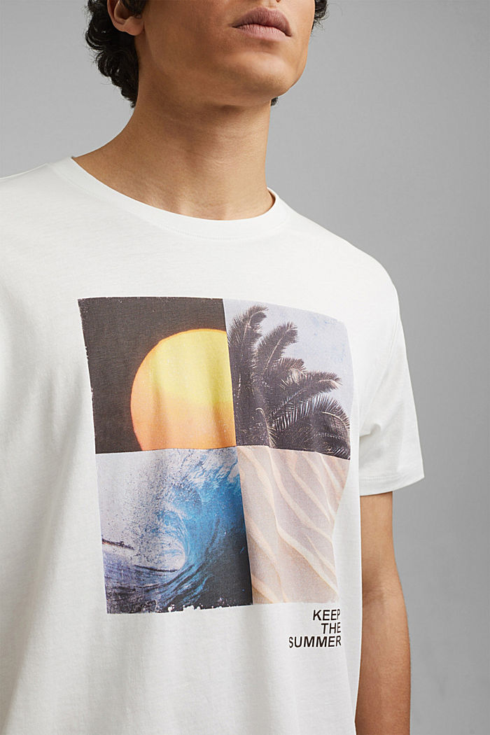 Printed T-shirt in 100% organic cotton, OFF WHITE, detail image number 1