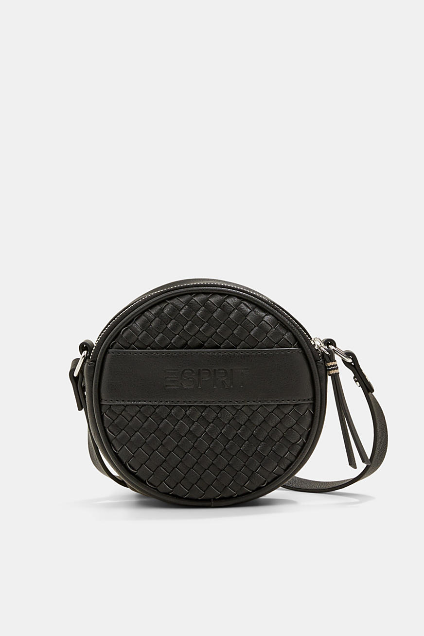 Vegan: round, woven-effect shoulder bag