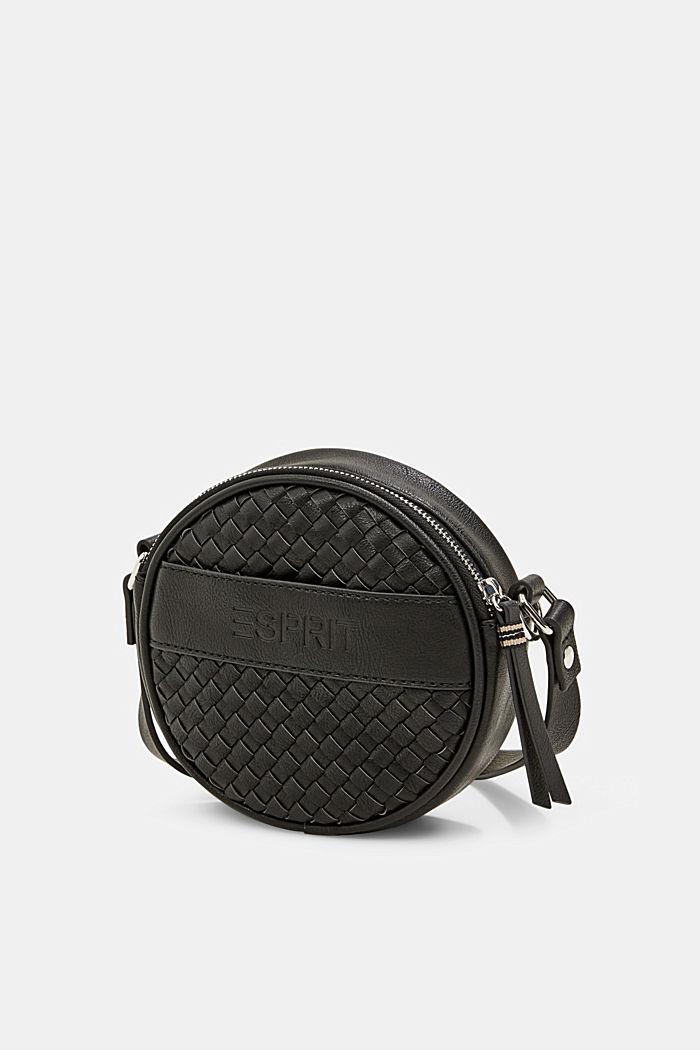 Veganistisch: ronde schoudertas met een gevlochten look, BLACK, detail image number 2