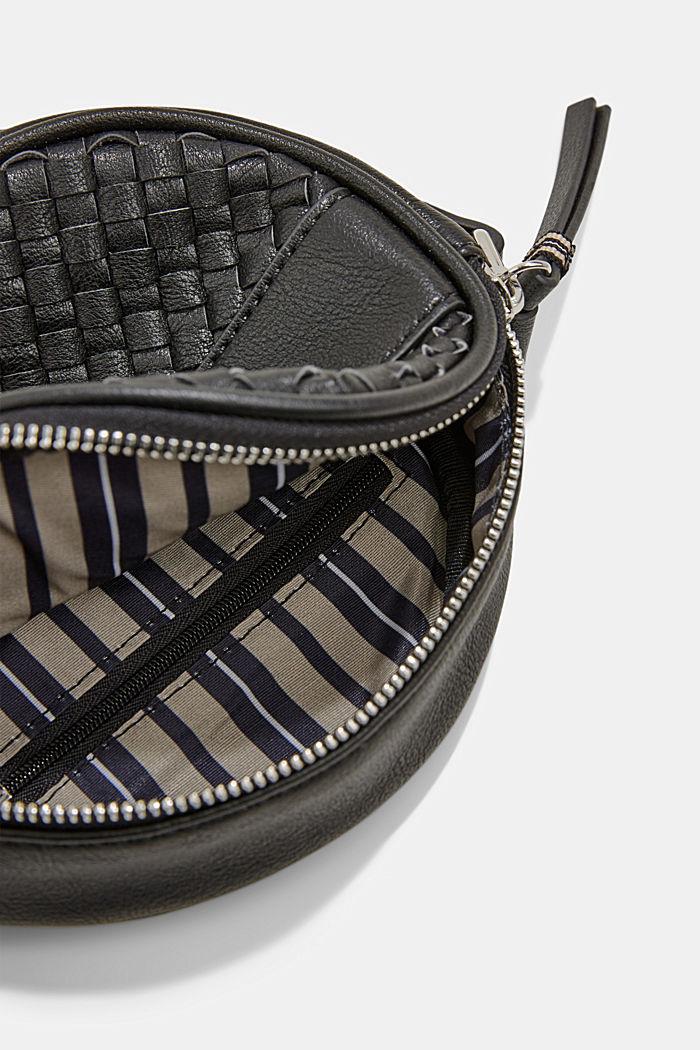 Veganistisch: ronde schoudertas met een gevlochten look, BLACK, detail image number 4