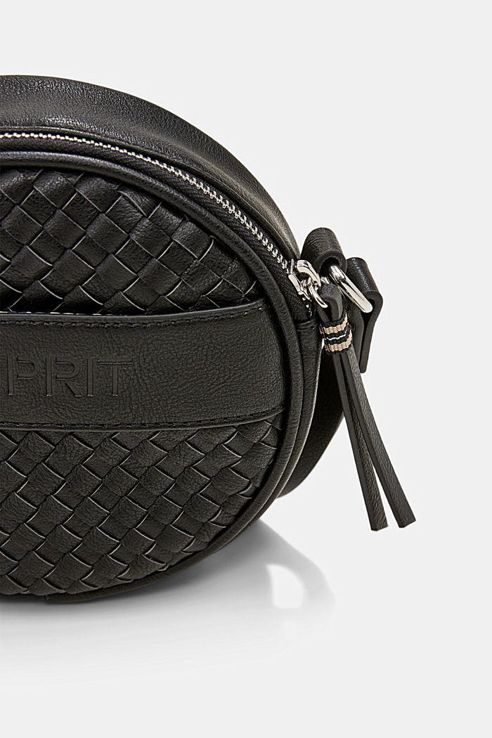 Veganistisch: ronde schoudertas met een gevlochten look, BLACK, detail image number 3