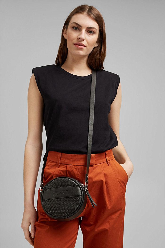 Végane: sac bandoulière rond d'aspect tressé
