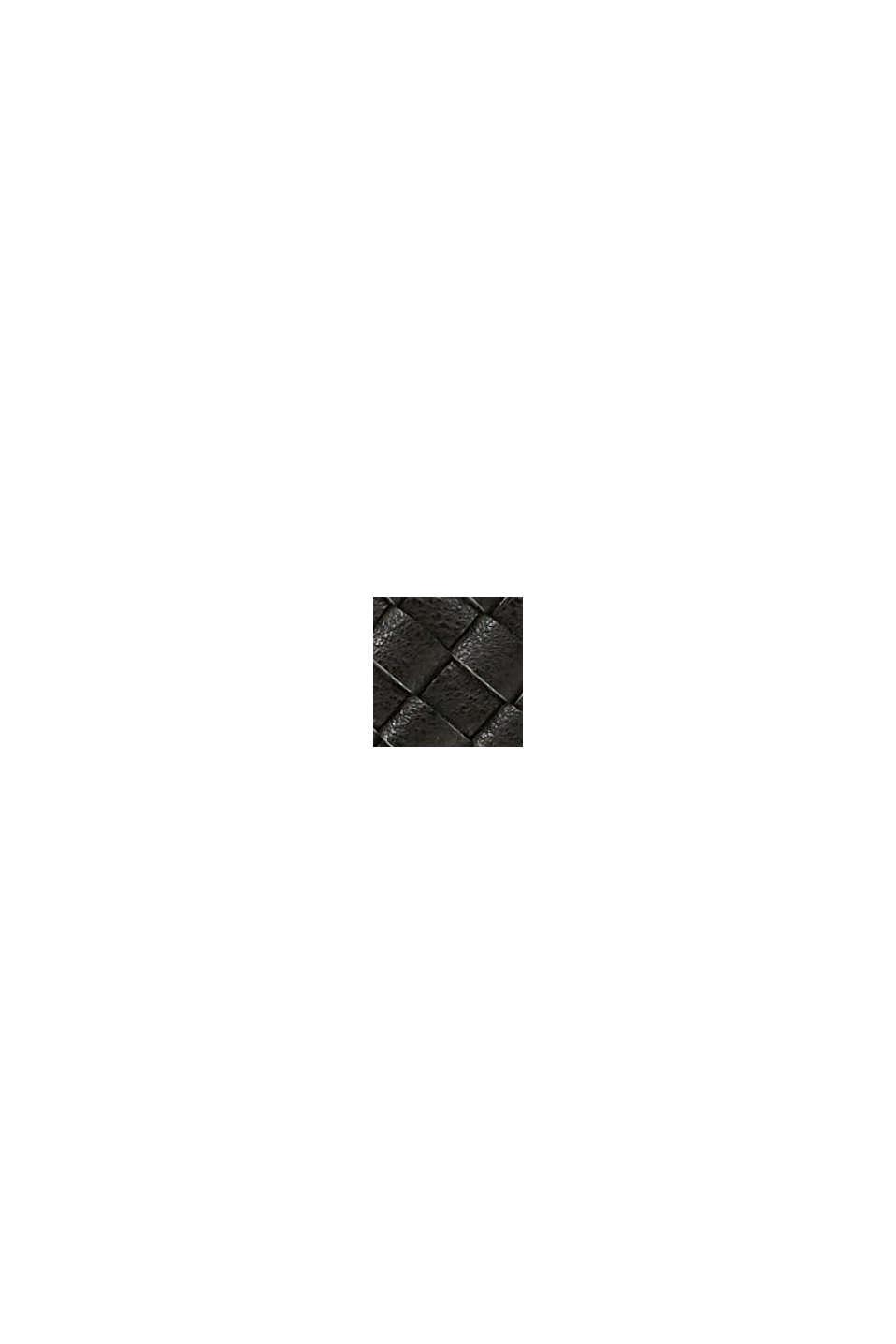 Vegansk: rund axelväska i flätad look, BLACK, swatch