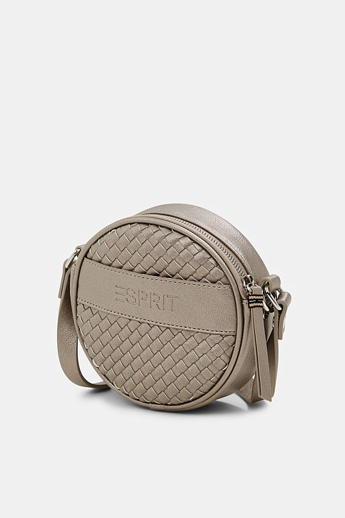 Vegan: round, woven-effect shoulder bag, GUNMETAL, detail image number 2