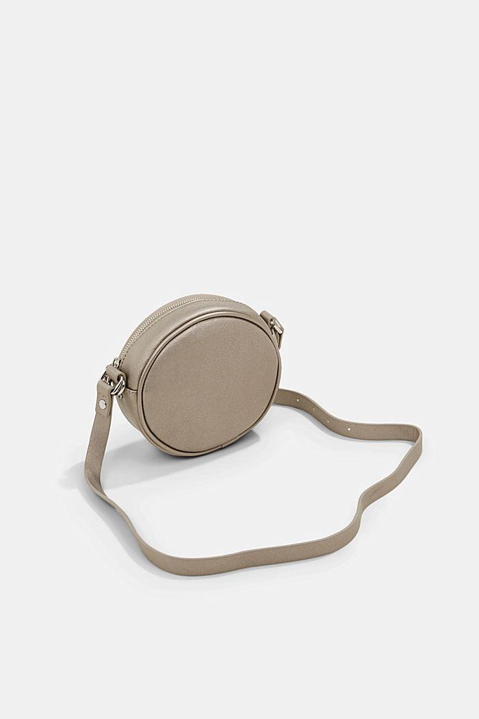 Vegan: round, woven-effect shoulder bag, GUNMETAL, detail image number 5
