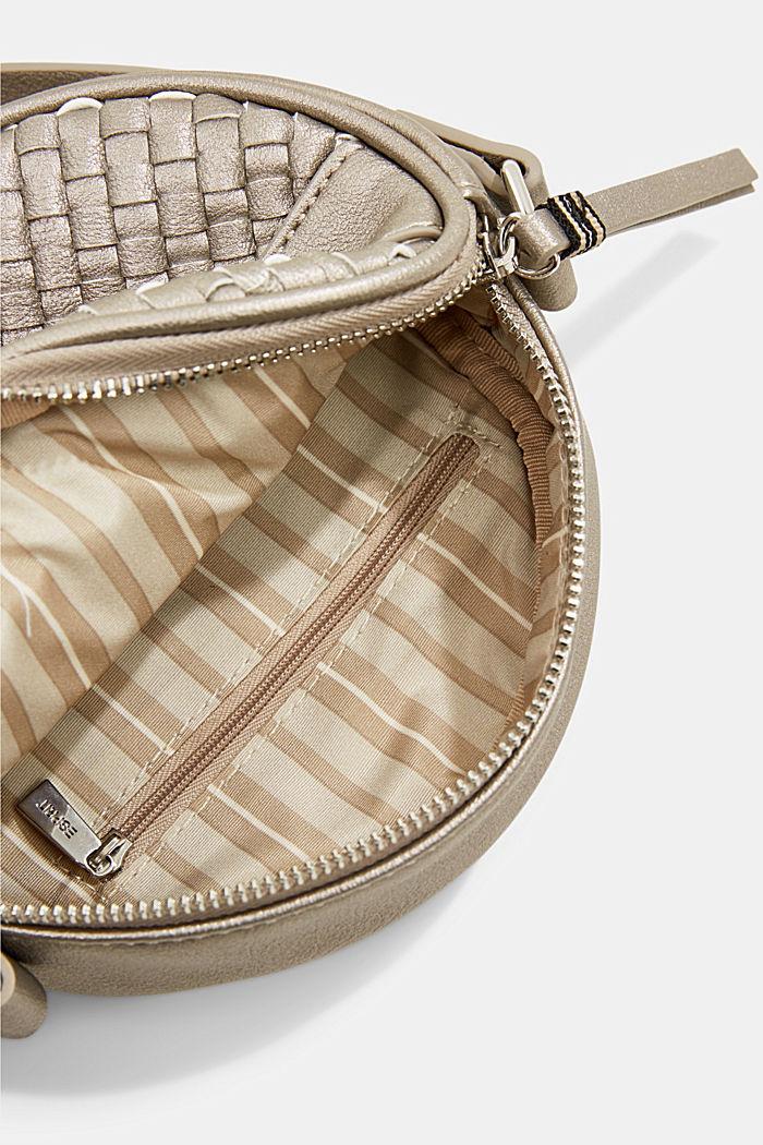 Vegan: round, woven-effect shoulder bag, GUNMETAL, detail image number 4