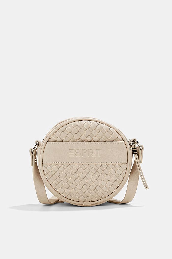 Vegan: round, woven-effect shoulder bag, LIGHT BEIGE, detail image number 0
