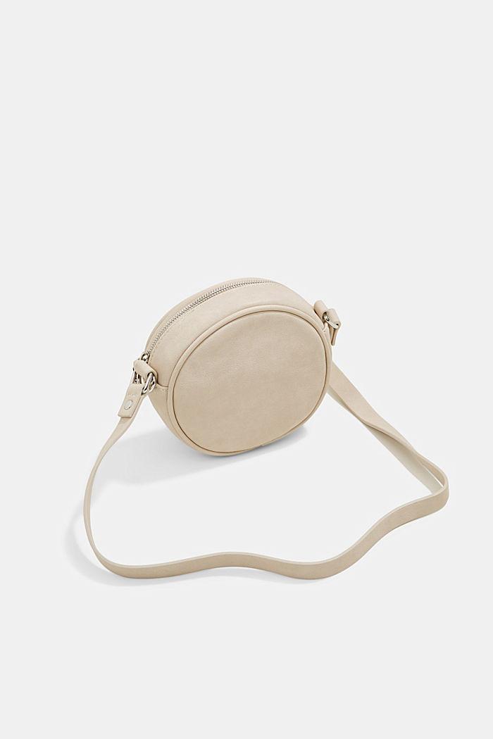 Vegan: round, woven-effect shoulder bag, LIGHT BEIGE, detail image number 5