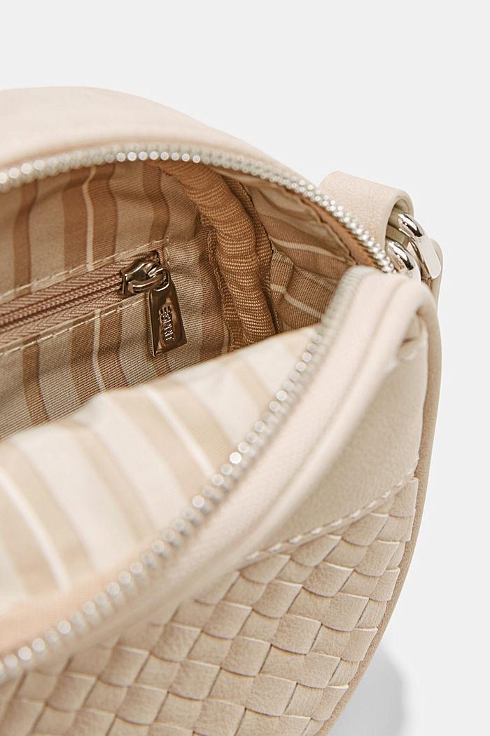 Vegan: round, woven-effect shoulder bag, LIGHT BEIGE, detail image number 4