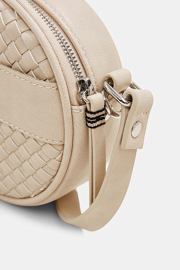 Vegan: round, woven-effect shoulder bag, LIGHT BEIGE, detail image number 3