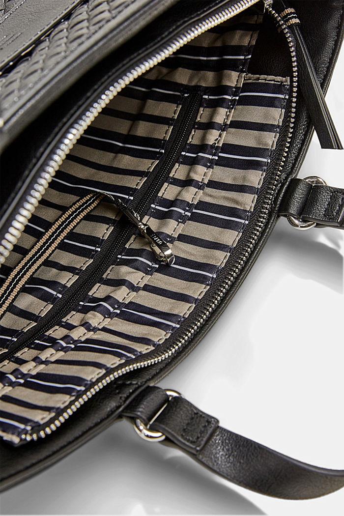 Veganistisch: schoudertas met een gevlochten look., BLACK, detail image number 4