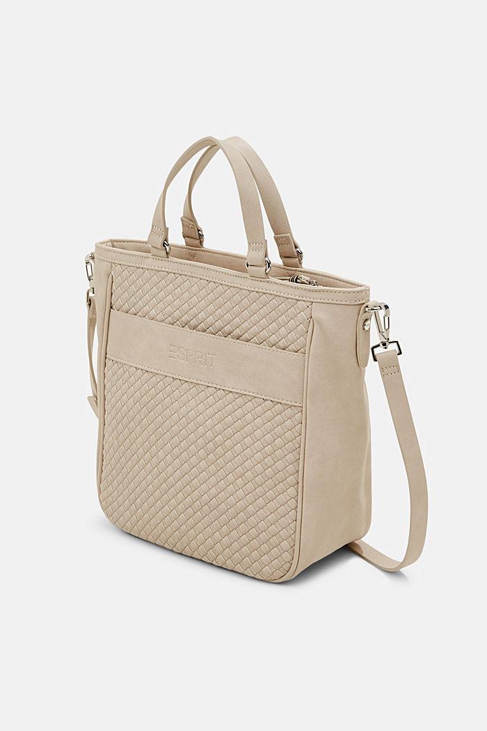 Vegan: braided shoulder bag, LIGHT BEIGE, detail image number 2