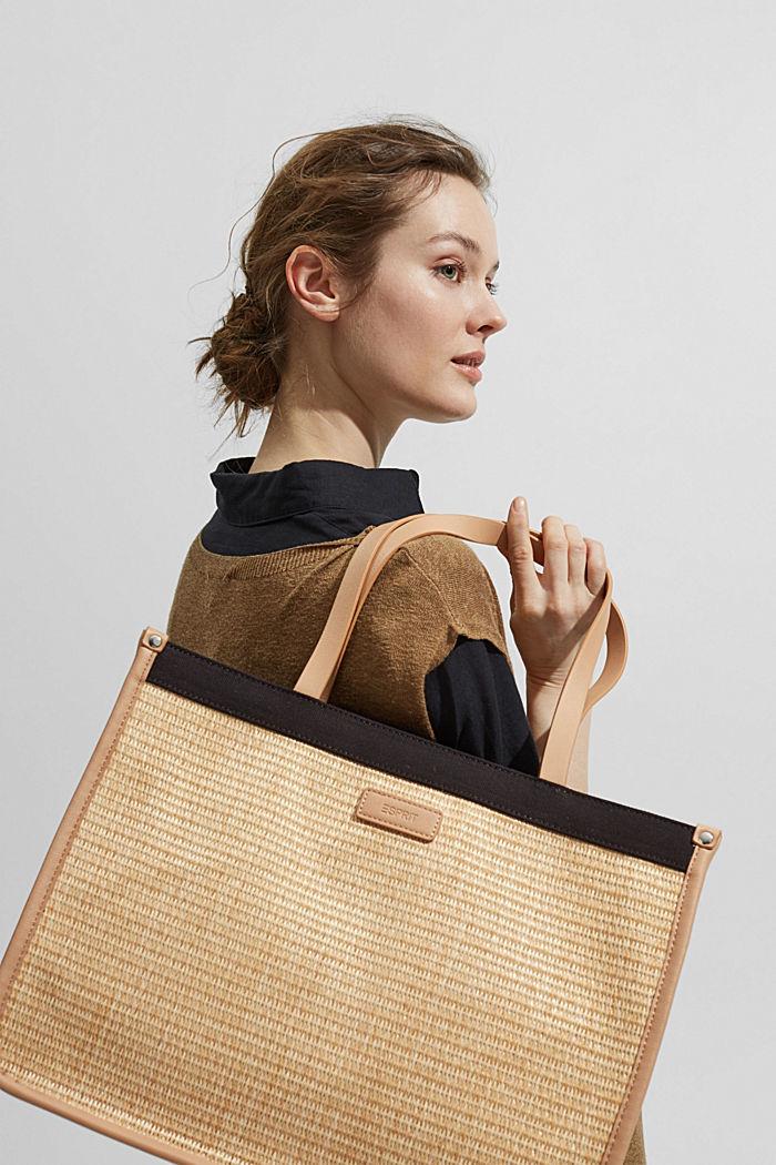Shopper in Bast-Optik mit Canvas, BLACK, detail image number 6