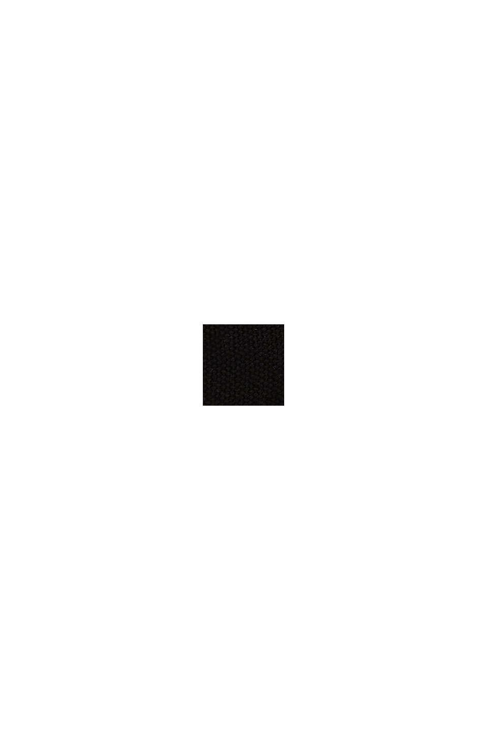 Shopper in Bast-Optik mit Canvas, BLACK, swatch