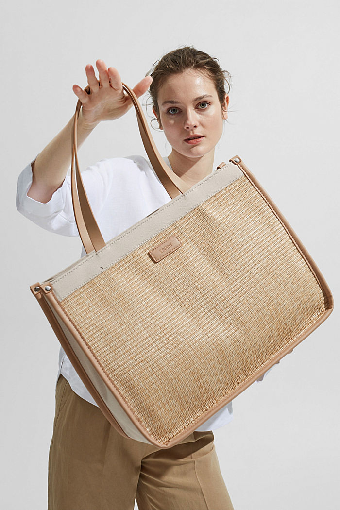 Shopper in Bast-Optik mit Canvas