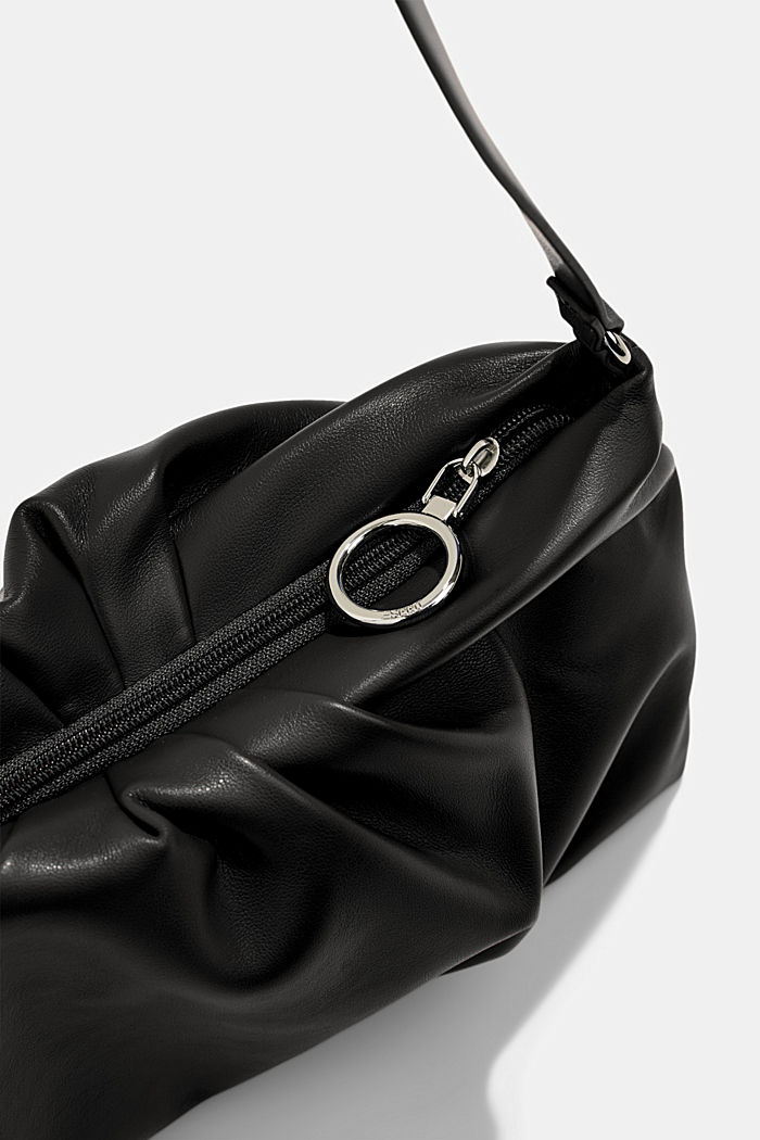 Vegaaninen: vetoketjullinen baguette-laukku, BLACK, detail image number 3