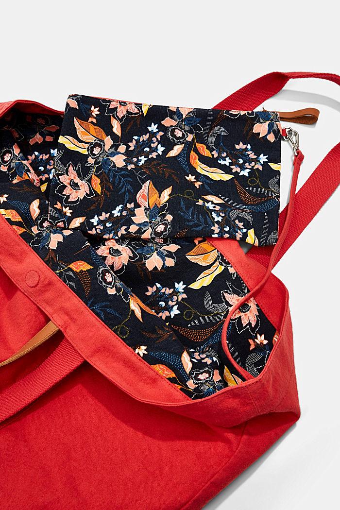 Käännettävä shopperi kanvasia ja pouch-kukkaro, ORANGE RED, detail image number 4