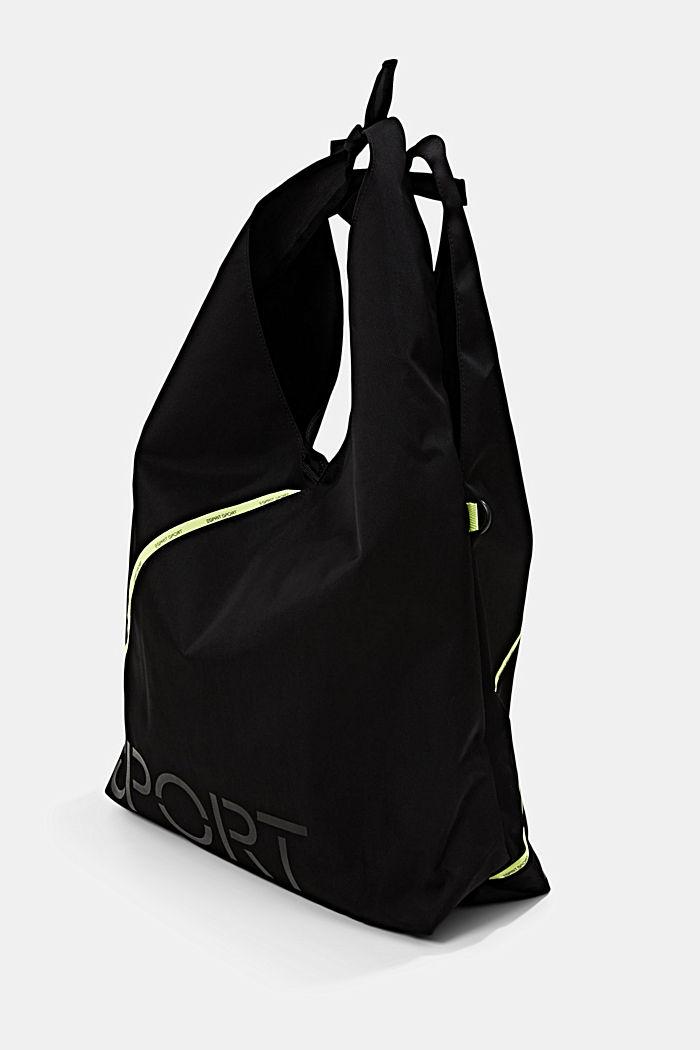 Nylon bucket bag met neondetail, BLACK, detail image number 2