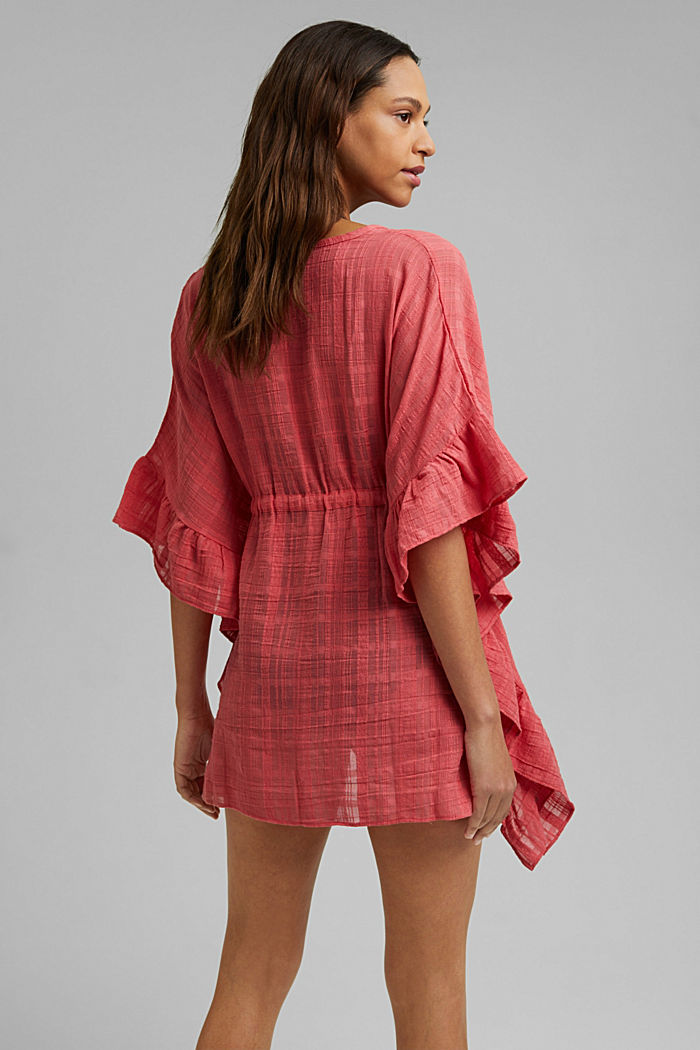 Textured kimono with flounces, CORAL ORANGE, detail image number 3