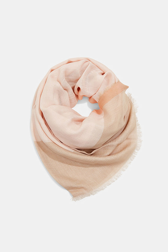 Made of TENCEL™/wool: scarf with colour blocking, LIGHT PINK, detail image number 0