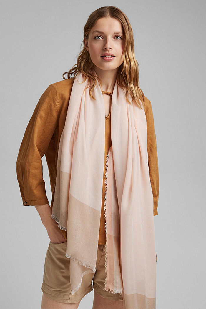 Made of TENCEL™/wool: scarf with colour blocking, LIGHT PINK, detail image number 1